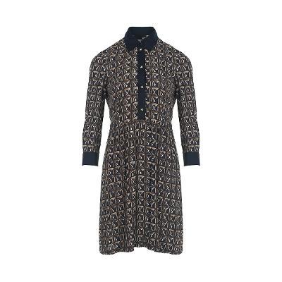 square pattern shirt dress multi